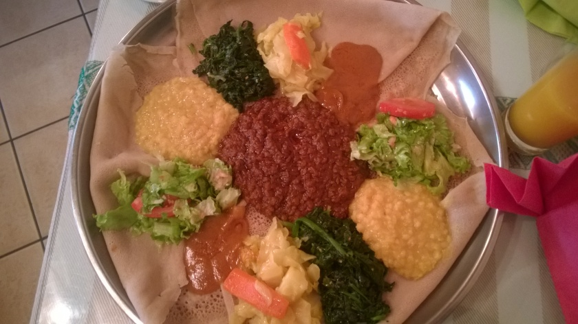 Ethiopian sharing platter at Awash