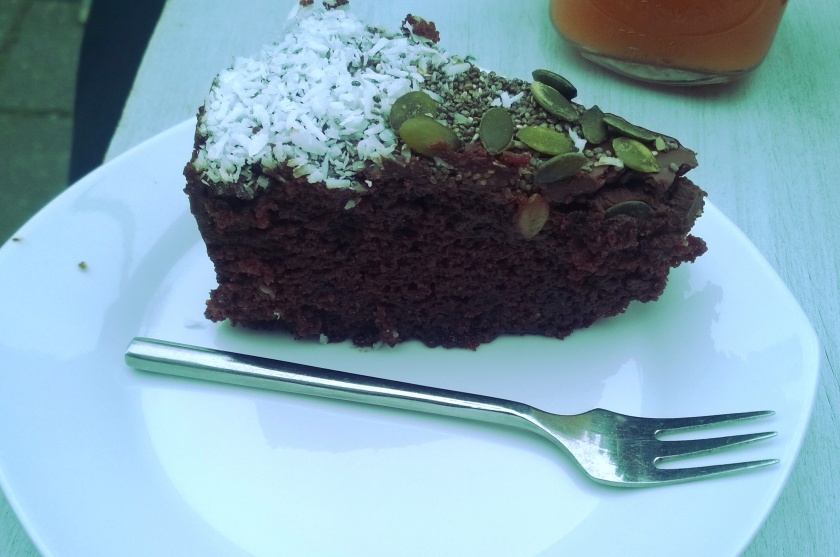 Picture of a chocolate cake on a plate