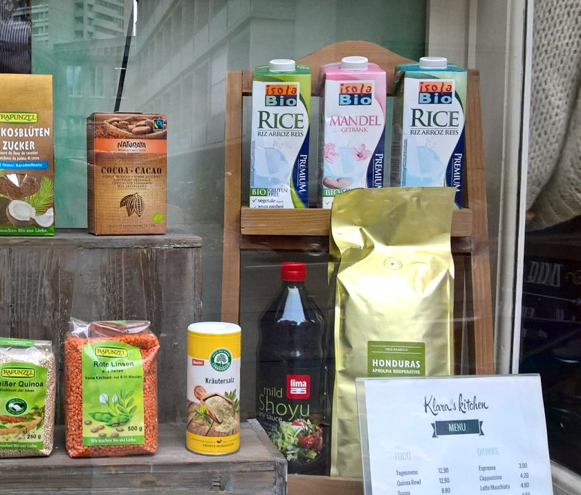 Milk alternatives in the window of Klara's kitchen in Zurich
