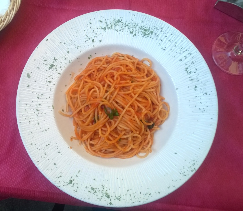 Pasta with tomato sauce at Hotel Malibran