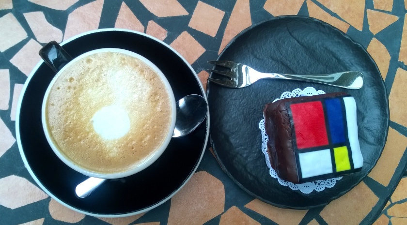 "Soy cappuchino and ""Mondriaan"" cake at More Pastry"