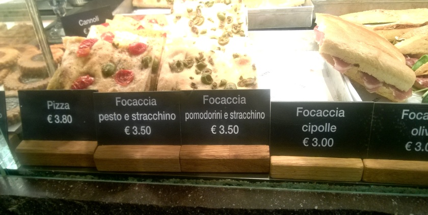 Focaccias in a display at Farini
