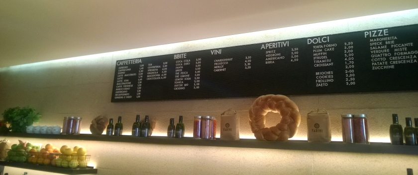 Menu at Farini Venice