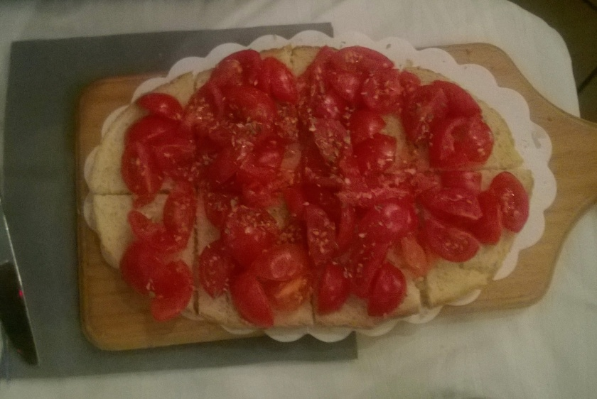 Bruschetta with olive oil and cherry tomatoes at Bar da Gino (Italy)