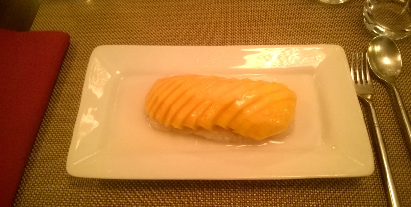 Mango, coconut milk, sticky rice at aux 3 elephants