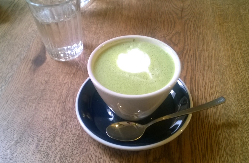 Almond matcha latte at Ex Machina