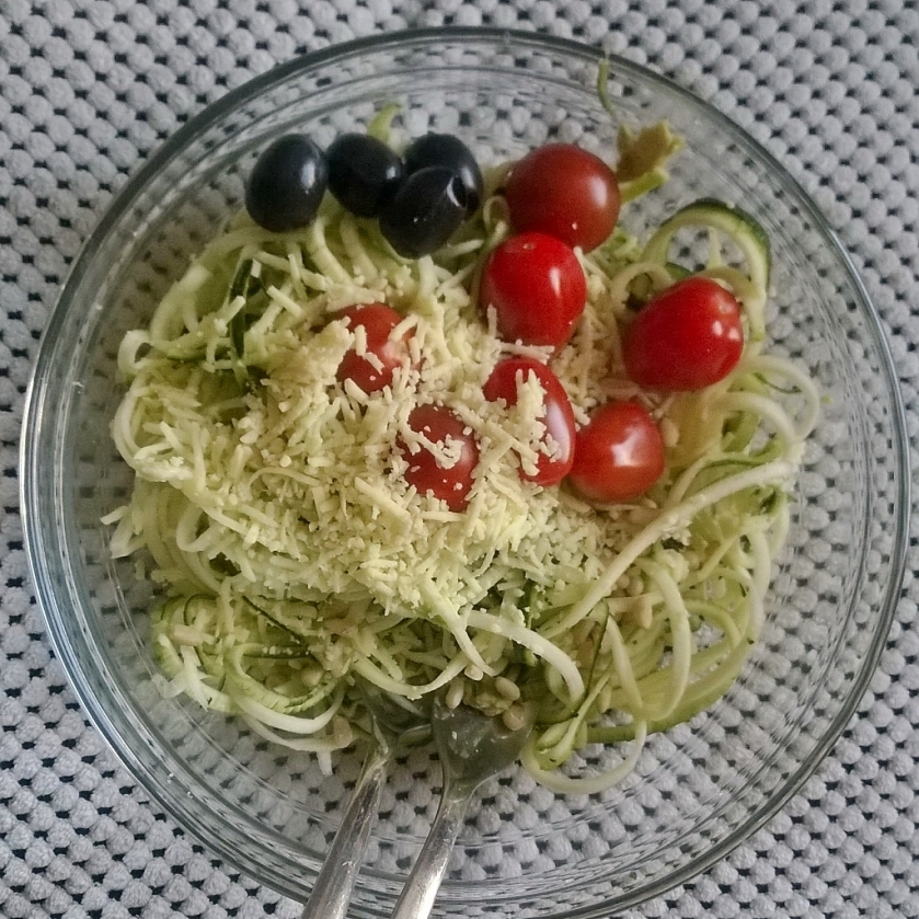 Home made pesto zoodles