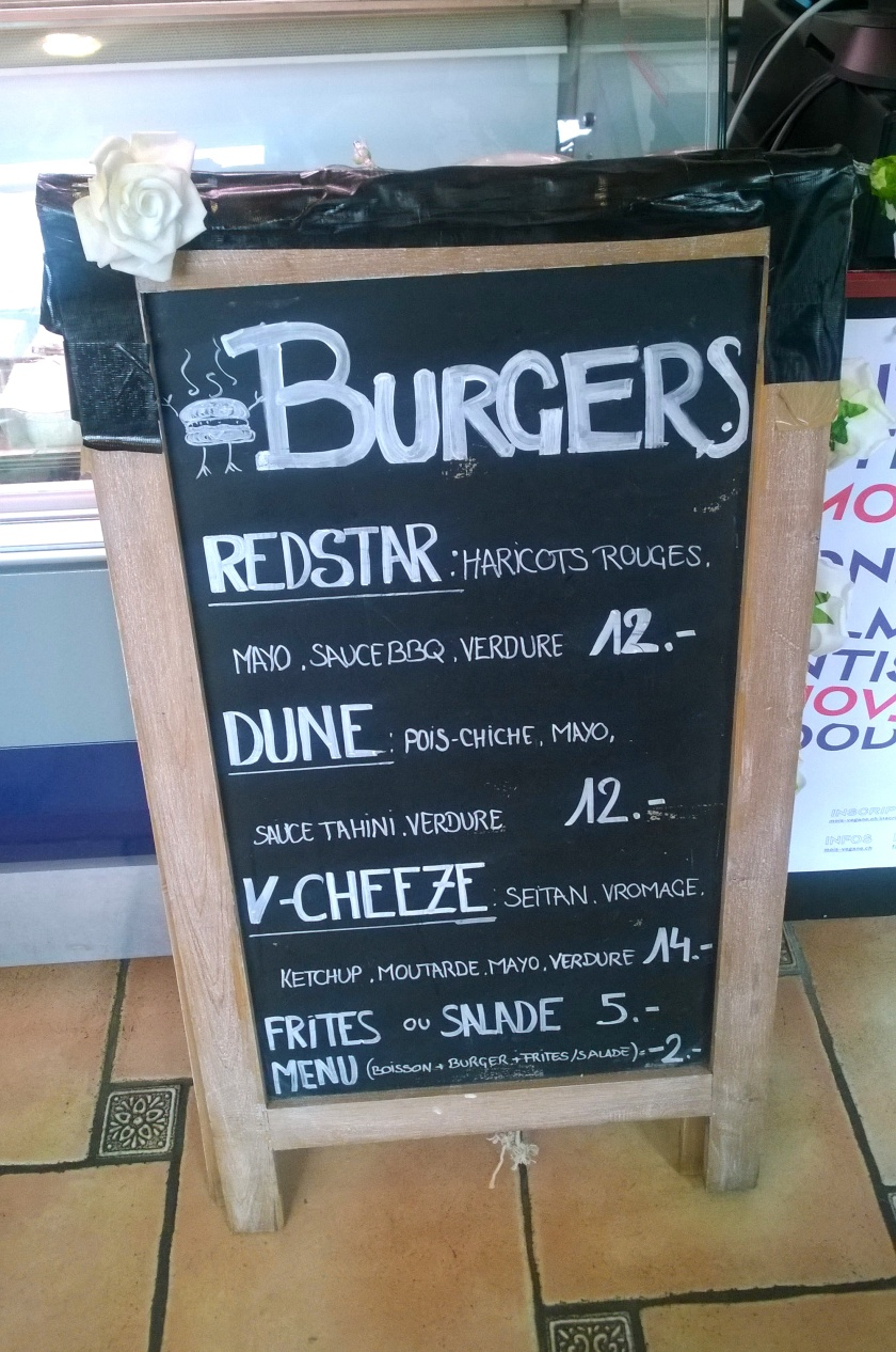 Burger menu at Veganopolis