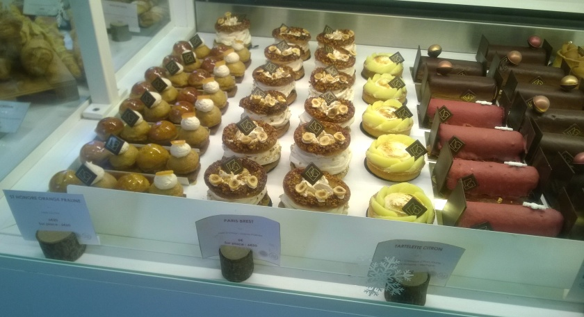 Cakes on display at VG Pâtisserie