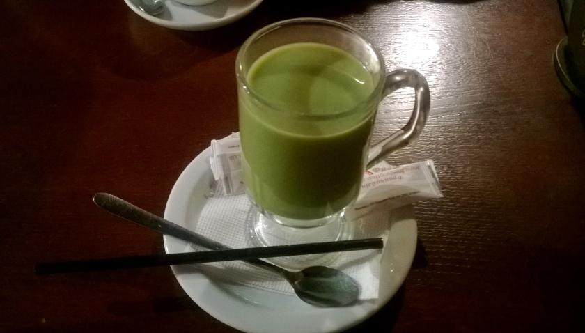 Matcha latte at Zolotoi Dukat