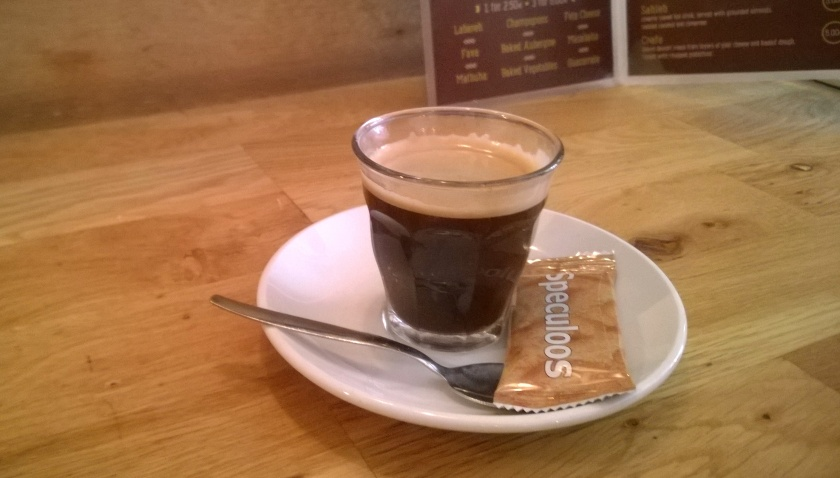 Coffee with speculoos at Hummus House
