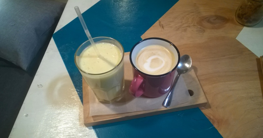 Pina colada and latte at B12