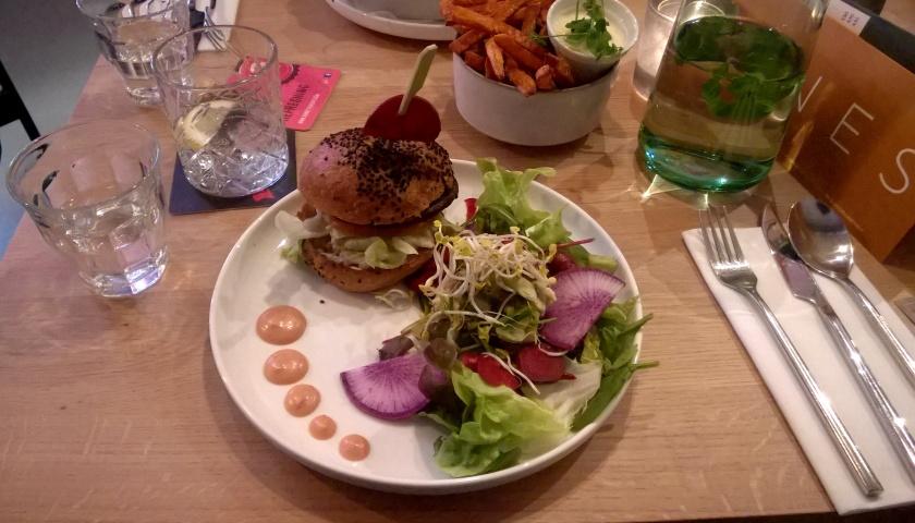 Burger and fries at SNCKBR/Wakuwaku