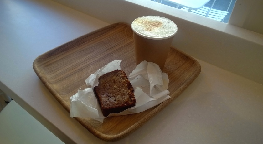 Turmeric almond latte and banana bread at Valya